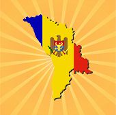 Moldova map flag on sunburst illustration