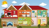 picture of cross-section  - Vector illustration of the house  - JPG
