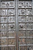 Ancient Metal Gate Of Saint Sophia Cathedral At Novgorod Kremlin, Russia.