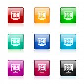 16 9 display web icons set