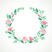 Vector illustration of a wreath with flowers