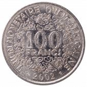 100 West African Cfa Francs Coin, 2002, Back