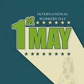 Vintage poster, banner or flyer design with green stylish text 1st May on blue background, concept f