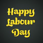 Stylish golden text Happy Labour Day on grey background, can be use as flyer, banner or poster.