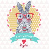 picture of white rabbit  - Funniest Easter card in vector - JPG