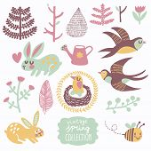 Vintage spring collection. Concept natural set with birds and animals. Swallows, rabbits, leafs, flowers, bee, watering pot, hearts in gentle pastel colors in vector