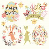 Easter holiday set in vector. Bright holiday elements and signs in cartoon style: egg made of hearts and flowers, rabbits, chicken, butterflies. Four cute concept cards