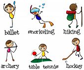 Illustration of the different sports activity on a white background