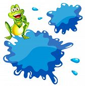 Illustration of a green frog and an empty blue template on a white background