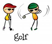Illustration of the stickmen playing golf on a white background