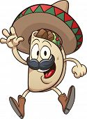 Cartoon taco wearing a sombrero. Vector clip art illustration with simple gradients. Taco and sombre