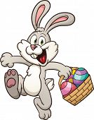 Cartoon Easter bunny jumping with egg basket. Vector clip art illustration with simple gradients. Al