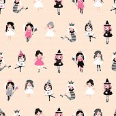 Seamless girls illustration dress up fantasy character halloween and princess background pattern in vector