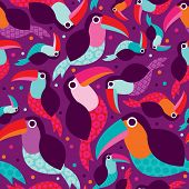 Seamless Brazil summer tucan bird illustration background pattern in vector