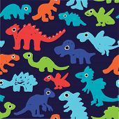 Seamless boy grunge style dinosaur illustration in raw paint background pattern in vector