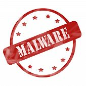 stock photo of malware  - A red ink weathered roughed up circle and stars stamp design with the word MALWARE on it making a great concept - JPG