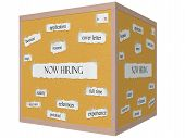 Now Hiring 3D Cube Corkboard Word Concept