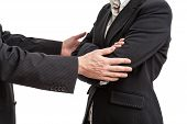 stock photo of pity  - Businessman ison way to say sorry to his work partner