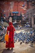 JAIPUR, INDIA - NOVEMBER 18, 2012: Indian woman in sari feeding pigeons in street. Hindus and Sikhs feed pigeons for religious reason