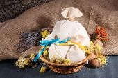 image of sachets  - Textile sachet pouches with dried flowers - JPG