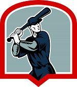 picture of hitter  - Illustration of a american baseball player batter batting set inside shield crest shape done in retro woodcut style isolated on white background - JPG