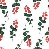 Red Bilberry Watercolor Seamless Pattern