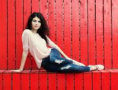 Beautiful Tall Girl With Long Hair Brunette In Jeans