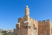 Tower of David and ancient citadel under blue sky in Jerusalem, Israel.