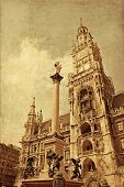 New Town Hall With Marian Column At Marienplatz (mary's Square), Munich, Germany