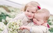 picture of little sister  - Portrait of the little sister and its toddler brother among the wildflowers - JPG