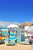 Saint Tropez, France - May 24: View Of Saint Tropez Harbor With Paint Art Exhibition And Sale On May