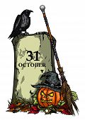 Halloween Pumpkin Jack-o-lantern, Tomb, Raven, Witches Hat and Broom