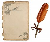 Antique Paper Sheet With Victorian Ornament And Vintage Ink Pen