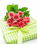 Fresh Pink Roses With Gift Isolated On White