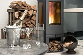 Festive Home Interior Wirh Champagne, Two Glasses And Fireplace