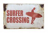 Vintage Surfer Crossing Sign