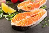 Fresh Salmon Steak with Lemon Slice