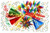 Colorful Background With Garlands, Streamer And Confetti
