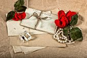 Old Post Cards, Red Rose Flower, Perfume And Perls Necklace