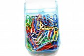 Multicolored Paperclips Isolated Over A White Background