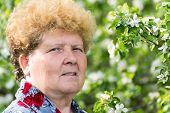 Elderly Woman In A Spring Garden
