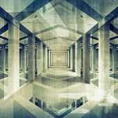 Dark Abstract Architecture 3D Background. Concrete Interior