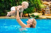 pic of mother baby nature  - Beautiful mother and child in the open air - JPG