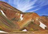 Colorful smooth mountains in the Icelandic reserve Landmannalaugar. Rhyolite mountains