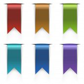 Color flag tags vector set isolated on white background.