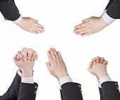 Set Of Businessman Clasped Hands - Hand Gesture