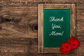 Vintage Green Blackboard With Red Roses