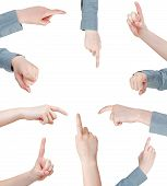 Set Of Female Pressing Forefinger - Hand Gesture