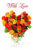 Heart Shaped Bouquet Of Colorful Assorted Roses
