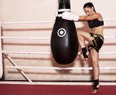 Sexy Boxer Girl With Dark Hair And Sportive Body Posing On Ring